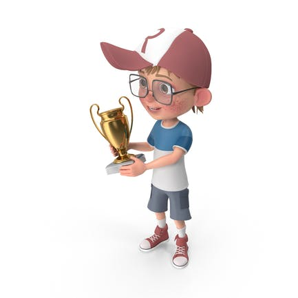 Cartoon Boy Harry Holding Prize Cup