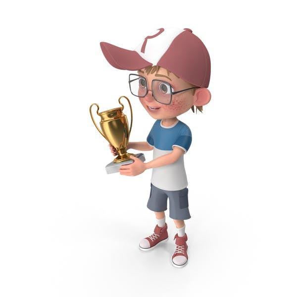 Thumbnail for Cartoon Boy Harry Holding Prize Cup