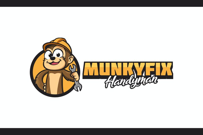 Thumbnail for Cartoon Worker Monkey Holding Wrench Mascot Logo