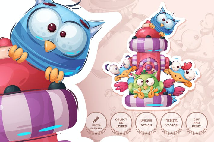 Thumbnail for Bird family - seamless pattern