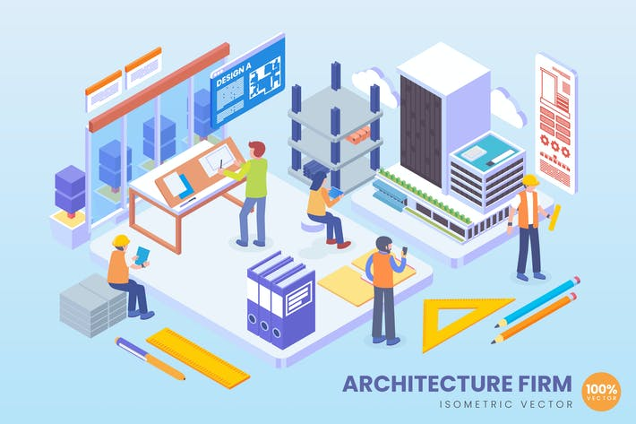 Thumbnail for Isometric Architecture Firm Vector Concept