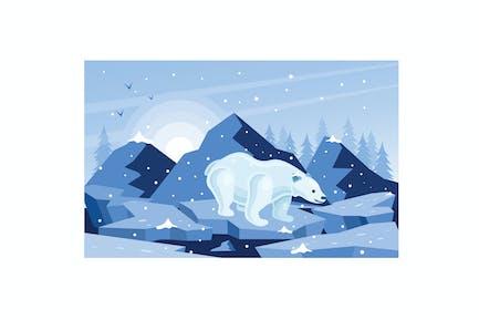 White Polar Bear Winter Illustration
