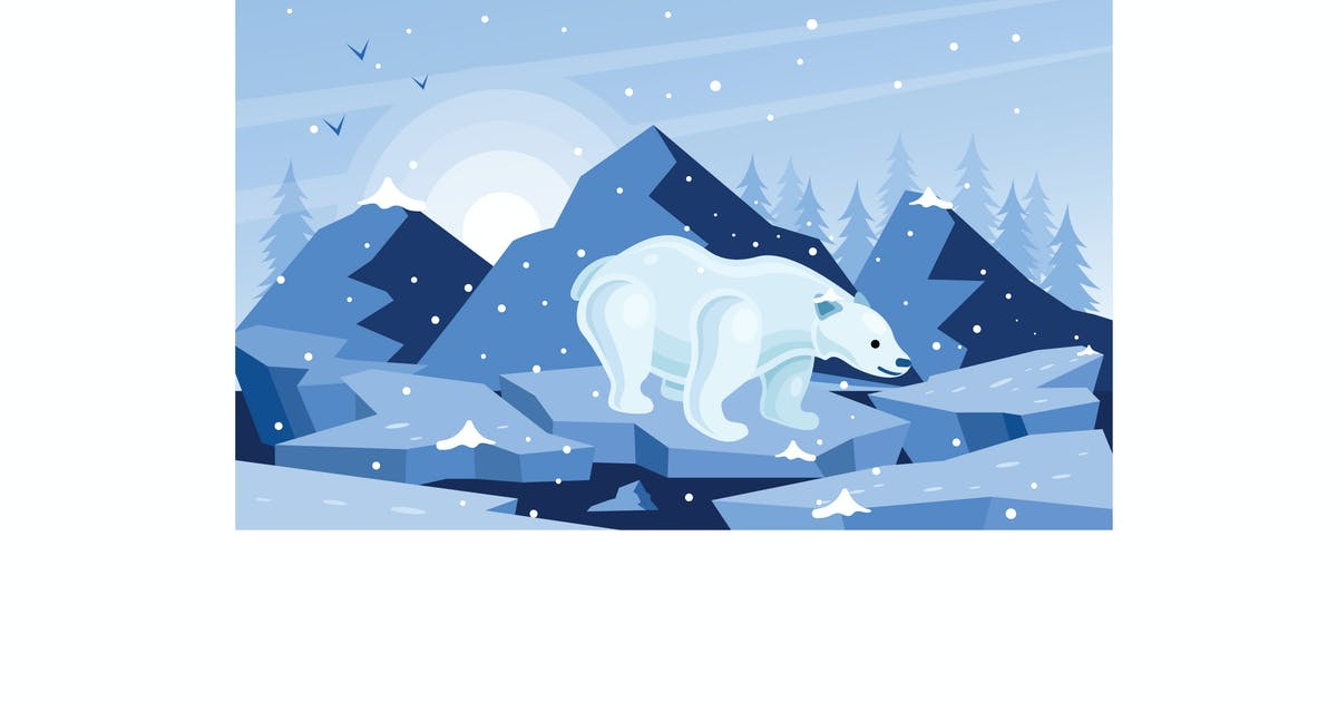Download White Polar Bear Winter Illustration by IanMikraz