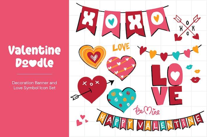 Thumbnail for Valentinstag Doodle Dekoration Banner und Liebessymbol