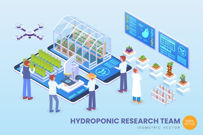 Thumbnail for Isometric Hydroponic Research Team Vector Concept