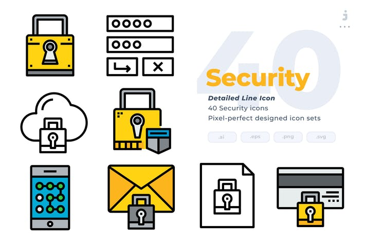 Thumbnail for 40 Security Icons - Detailed Line Icon