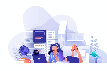 Student Distant Learning Flat Web Illustration