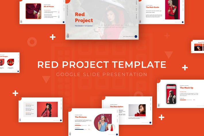 Красный проект - Шаблон слайда Google
