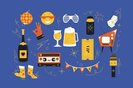 Trendy Party Elements Illustration Set