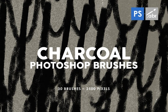 30 Charcoal Texture Photoshop Stamp Brushes