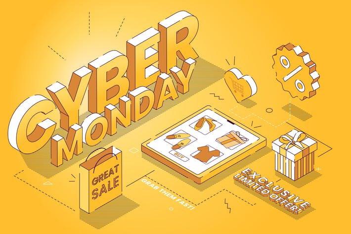 Thumbnail for Cyber Monday Great Sale - Isometric Illustration
