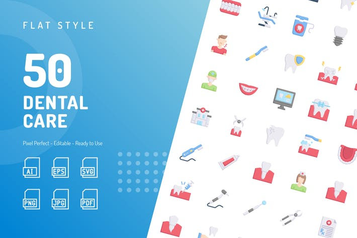 Thumbnail for Dental Care Flat Icons