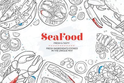 Hand Drawn Sea Food Elements