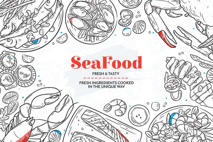 Thumbnail for Hand Drawn Sea Food Elements