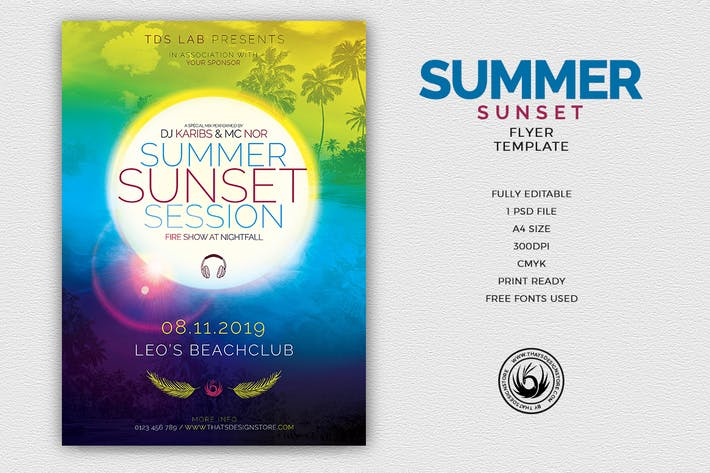 Thumbnail for Summer Sunset Flyer Template