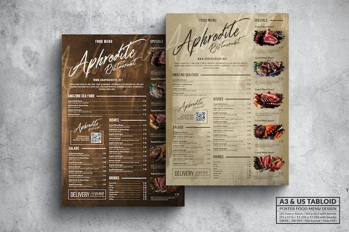 Thumbnail for Vintage Old Food Menu - Affiche à tabloïd US A3