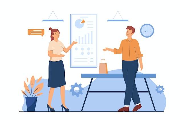 Business Chart Flat Concept Web Illustration