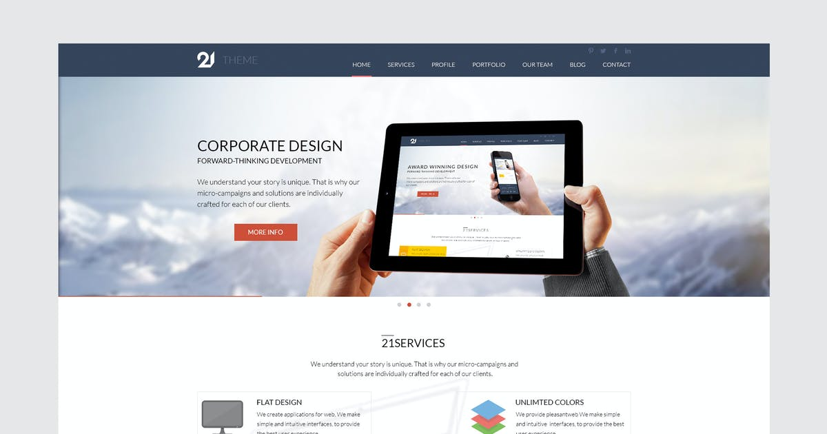 Download 21 - Corporate & Business HTML Theme by xvelopers