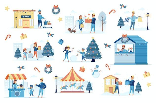 Winter Festival Flat Scene Creator Kit