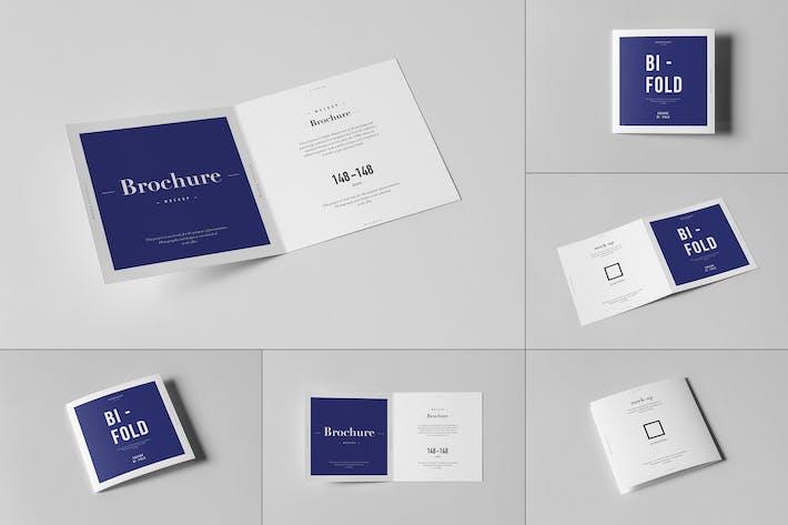 Thumbnail for Bi-Fold Square Brochure Mock-up