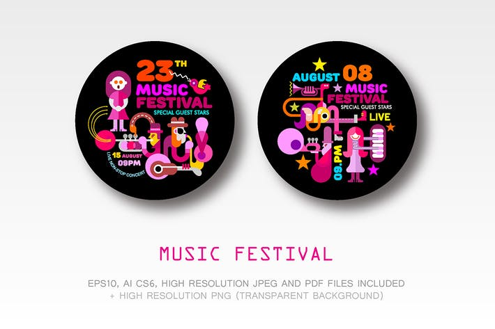 Cover Image For Music Festival round flyer designs (2 options)