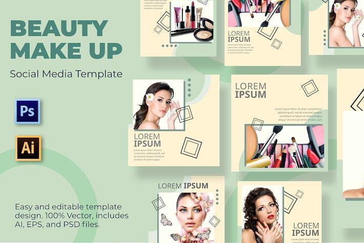 Pinsel Make-up-Vorlage für soziale Medien