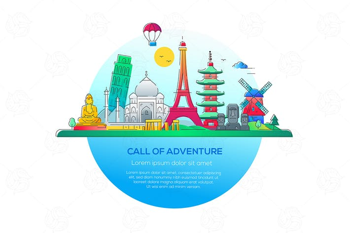 Cover Image For Call of adventure - vector line illustration