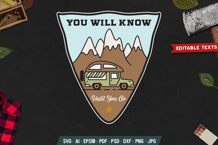 Thumbnail for Road Trip Camping Badge Vector Retro Graphic Logo