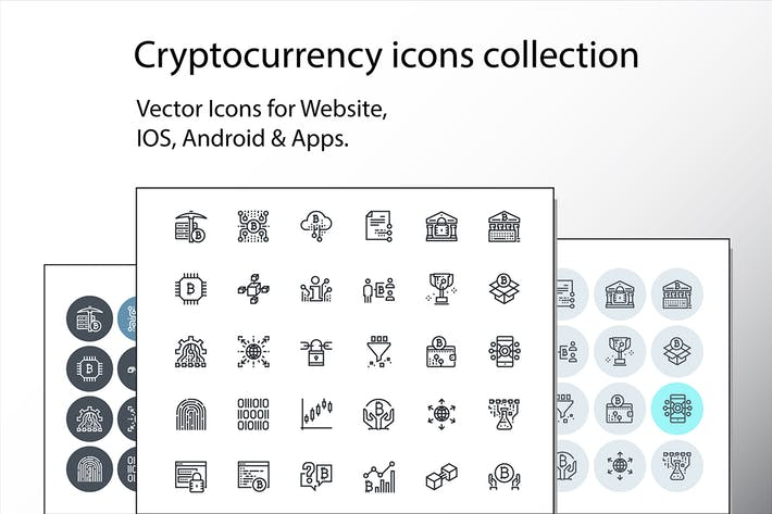 Thumbnail for Set of thin line cryptocurrency icons