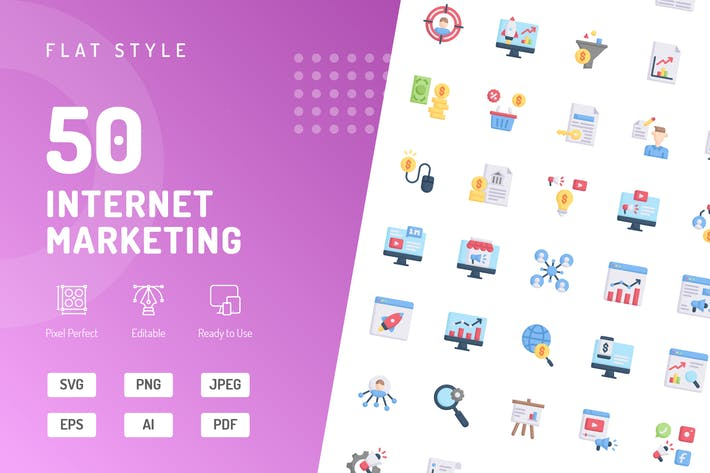 Thumbnail for Flache Icons für Internet Marketing