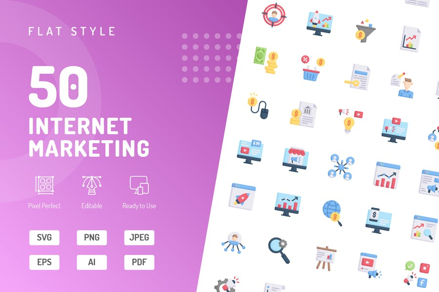 Flache Icons für Internet Marketing