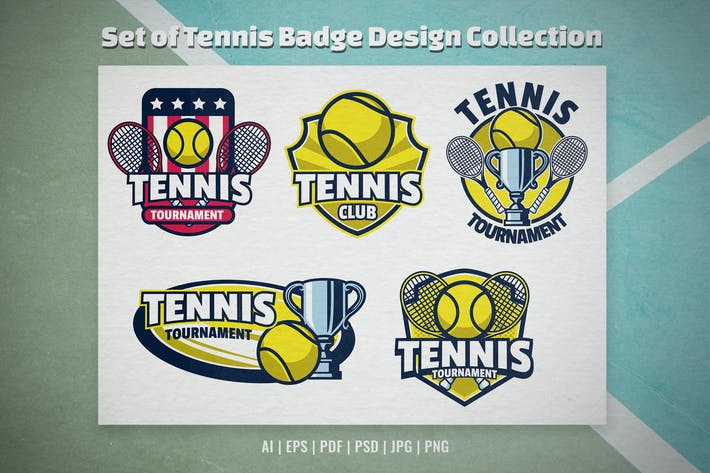 Set of Tennis Badge Design Collection