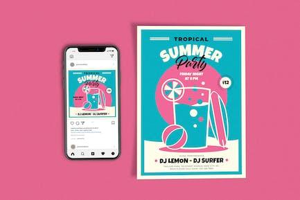 Retro Tropisches Sommerfest Vorlagen-Set