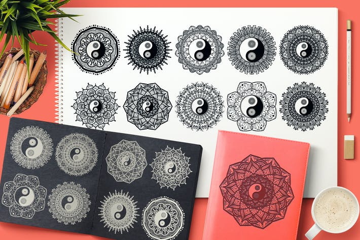 Thumbnail for Yin Yang Mandalas Set