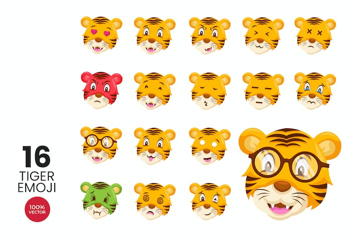 Cover Image For 16 Cute Tiger Avatar Emoji Vector Character Set