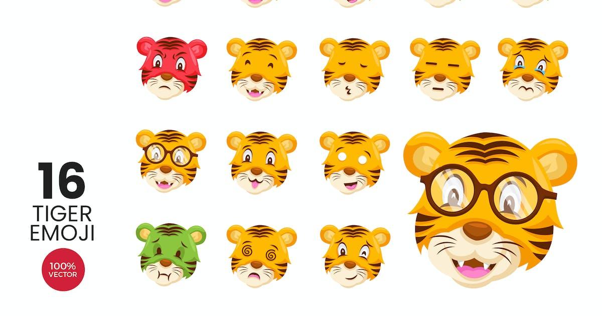Download 16 Cute Tiger Avatar Emoji Vector Character Set by naulicrea