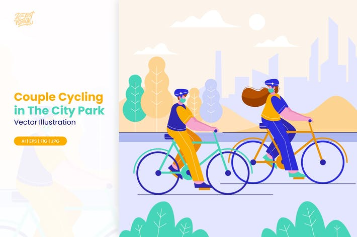 Paar Radeln im Stadtpark Illustration