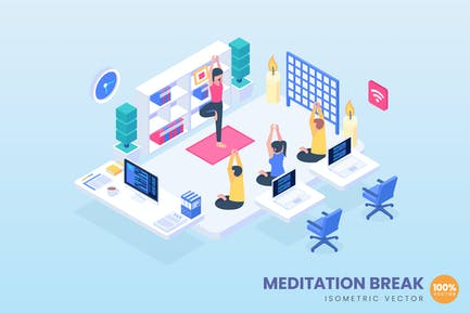 Meditation Break Concept Illustration