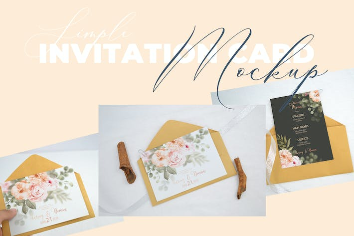 Thumbnail for Realistic Wedding Invitation Card Mockup V2