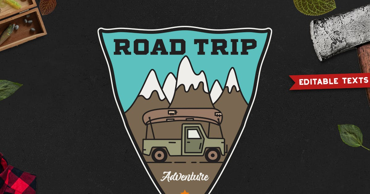 Download Road Trip Badge, Vector Adventure Retro Graphic by JeksonJS