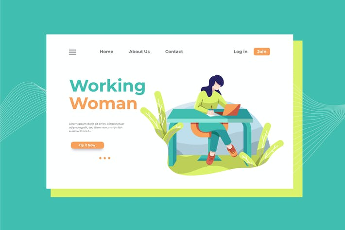 Thumbnail for Working Woman Landing Page Illustration