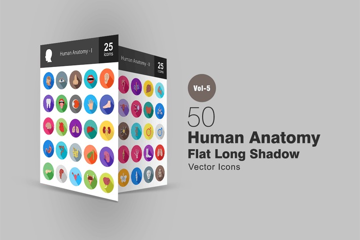Thumbnail for 50 menschliche Anatomie Flache Shadowed Icons
