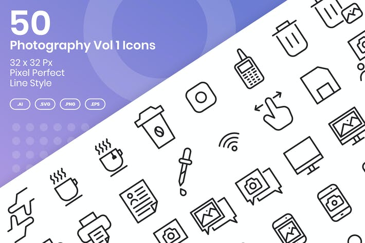 Thumbnail for 50 Photograhpy Icons Set Vol 1 - Linie