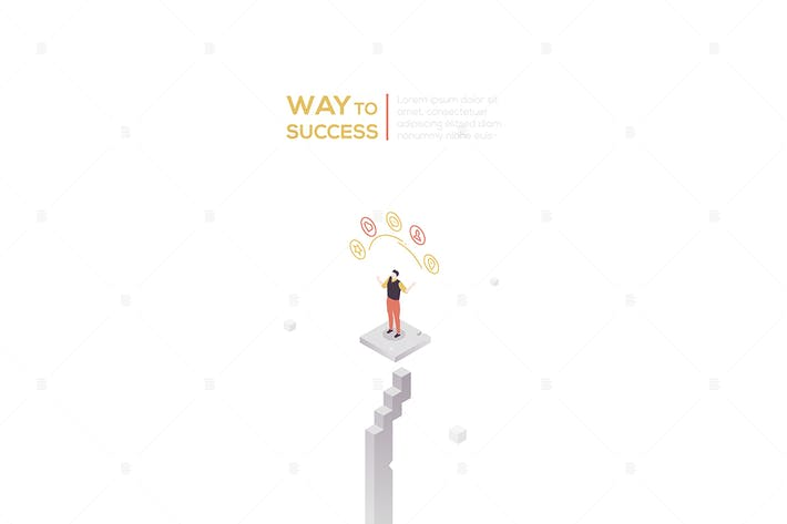 Way to success - modern isometric illustration
