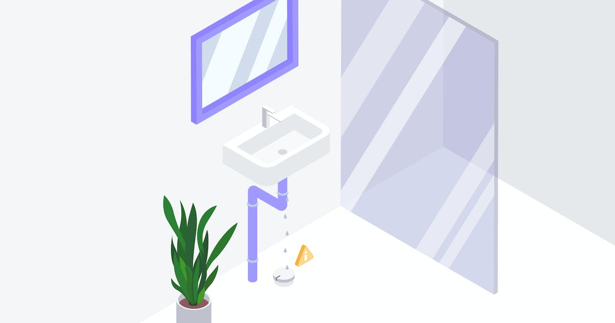 Download Warning of Leaking Bathroom Water Isometric Ai by angelbi88