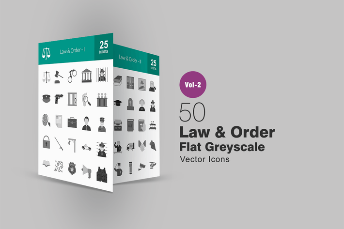 Thumbnail for 50 Law & Order Greyscale Icons