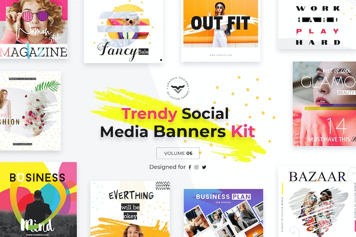 Thumbnail for Trendy Social Media Banners Pack VI