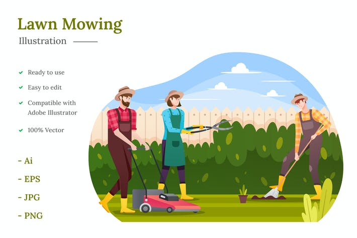Lawn Mowing Illustration