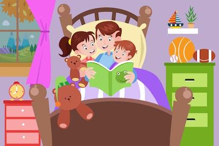 Gutenachtgeschichte mit Papa - Aktivität Illustration