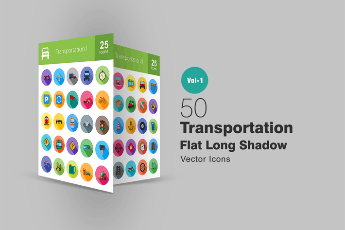 Cover Image For 50 Transportation Flat Long Shadow Icons